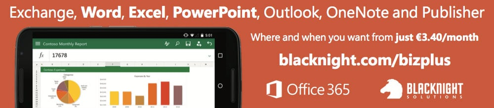 Office 365 / Blacknight 1/8th page banner graphic
