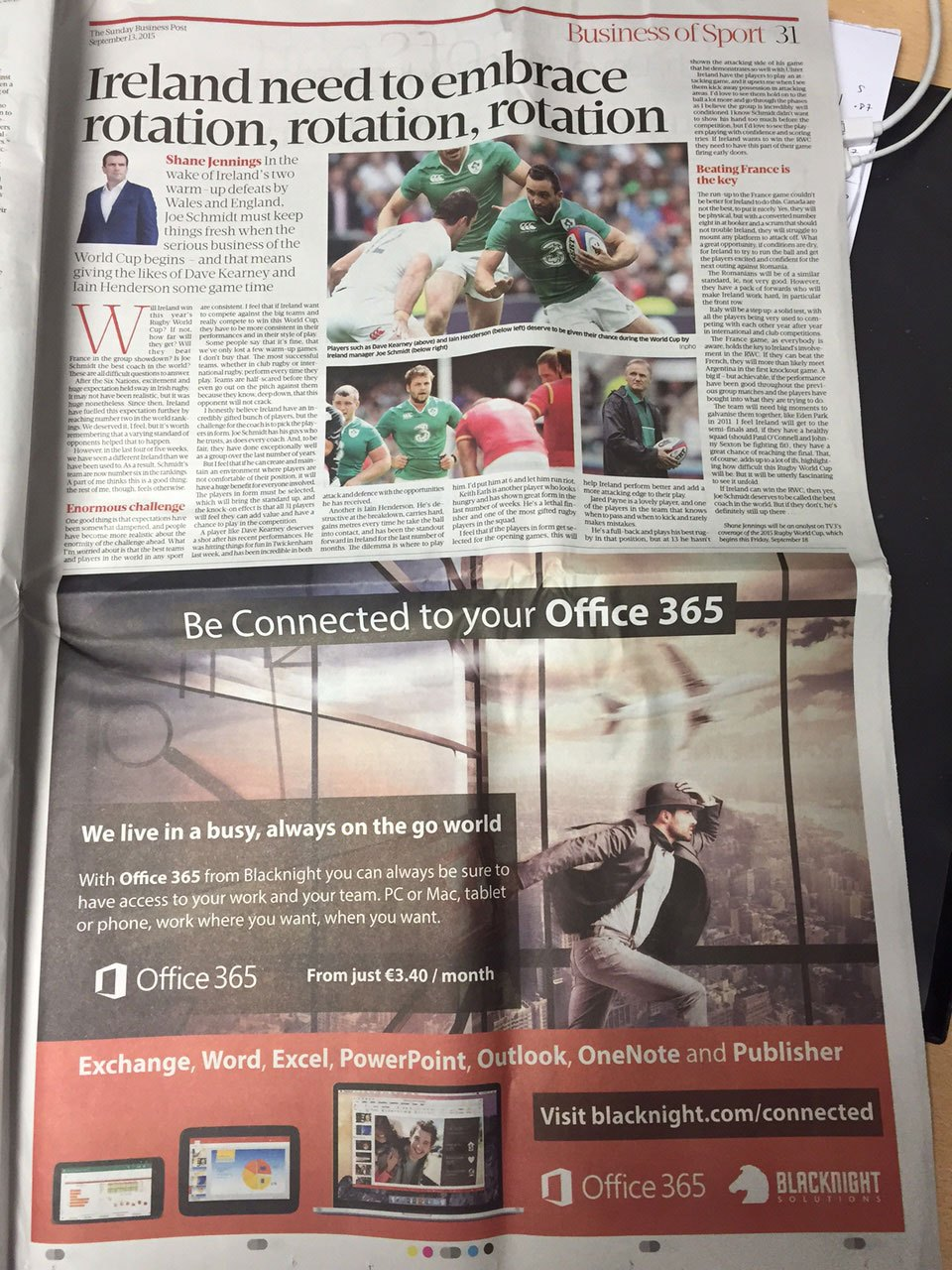 Office 365 Advert in the Sunday Business Post